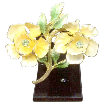 Brooch yellow flowers with green enamel and rhinestones