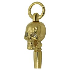 Antique Victorian Memento Mori Skull shape 9k gold and Diamonds key fob for pocket watches