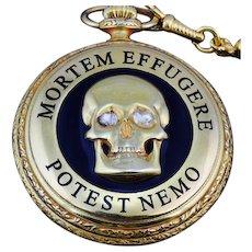 Antique 18k gold plated ,Enamel and 1.2ct Diamonds Patek Philippe Memento Mori Masonic Skull pocket watch