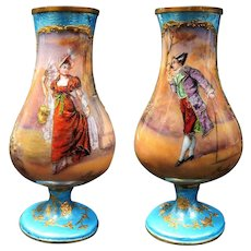 19th C. french miniature vases hand painted signed