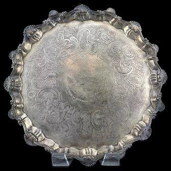 18th C. Rare Georgian Solid Silver Salver Tray