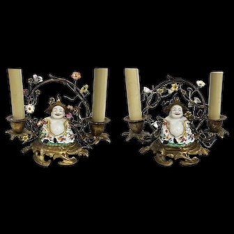 """A Pair of """"Meissen"""" Chinoiserie Candelabras. 19th C."""