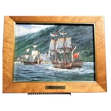 """Painting on Porcelain """"The Resolution"""" by Thomas Wesley Freeman Franklin Mint Porcelain Plaque"""
