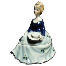 Vintage Limoges China Porcelain Hand Painted Cobalt Blue Dress Lady Trinket Box 19th Century