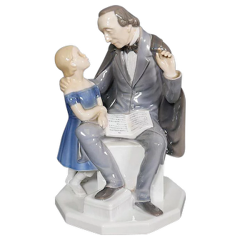 Mid Century Bing & Grondahl Large Porcelain Figure - Hans Christian Andersen Reads to Girl #2037