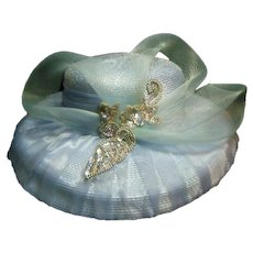 Vintage Pastel Baby Blue Ladies Fashion Straw Hat with Toole