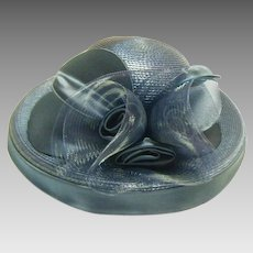 Vintage Navy Sunday Ladies Straw Hat by Deborah Fashions