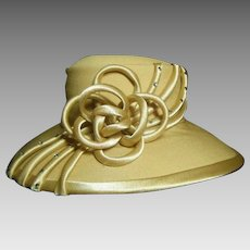 Vintage Embellished Old Gold Ladies Felt Sunday Hat