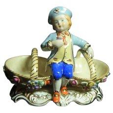 Rare Vintage KPM Victorian Style Blue Boy Double Bowl Centerpiece