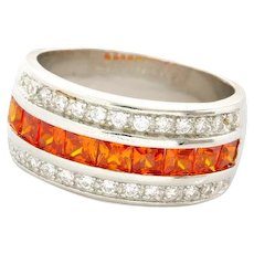 Sterling Silver, 3.55ctw Orange Topaz & White Sapphire Ring
