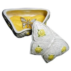 Vintage Gerrys Textured Butterfly Brooch with Ceramic  Jewelry Box