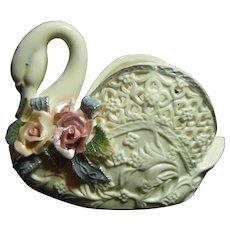 Floral Porcelain Swan Vase