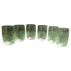 Vintage 1928 Macbeth Depression Green Tumbler Juice Glasses