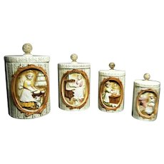 Vintage Sears and Roebuck 8 Pc. Pioneer Woman Ceramic Canister Set