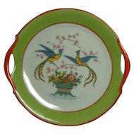 Vintage Porcelain Moschendorf Bavaria Double Handle Pheasant Cake Plate - RARE