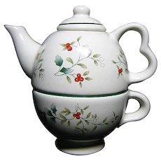 Vintage Mid Century Porcelain Pfaltzgraff Winterberry Tea For One Set