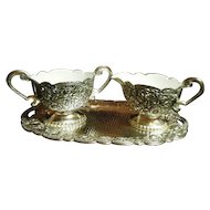 Vintage Small Silver Metal Creamer & Sugar Set with  Tray