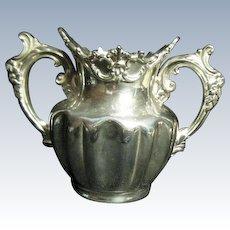 Antique Quadruple Plate Derby Silver Sugar Bowl 1674 Pre 1898