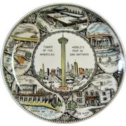 Vintage Mid Century Porcelain Tower of the Americas Worlds fair in San Antonio plate Hemisfair '68