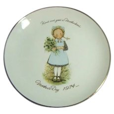 Vintage Mid Century Holly Hobby Mothers Day Porcelain Commemorative Plate 1974
