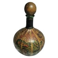 Vintage~1960's Old World Map Globe Decanter~Green Glass Bottle~Leather~w/Wood Stopper