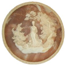 Vintage Incolay Cameo Stone-#1 The Romantic Poets Series - #1 She Walks In Beauty