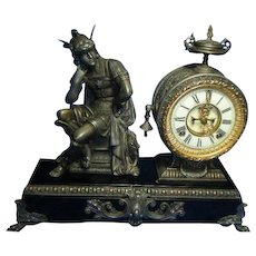 Antique Ansonia Mercury Figure Mantle Clock circa 1890