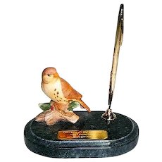 Vintage Ceramic Sparrow and Marble Stand with 12 kt Gold Filled Cross Pencil