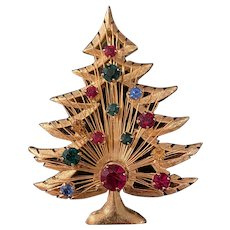 Signed brooks Christmas tree brooch with colorful prong set rhinestones