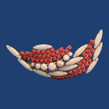 Vintage milk glass and red milk glass dynamic brooch