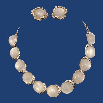 Vintage moon glow necklace and clip on earrings