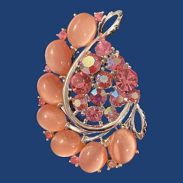 Vintage Signed Lisner pink moonstone and Aurora Borealis rhinestone brooch
