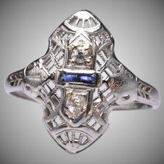 Vintage Art Deco 18k White Gold Diamond and Sapphire Navette Ring
