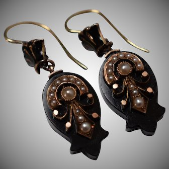 Antique Victorian Mourning Onyx & Seed Pearl Dangle Earrings