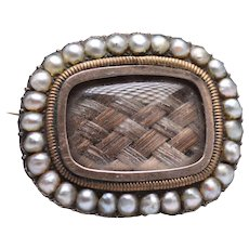 Antique Victorian 9k Mourning Hair Brooch with Seed Pearl Border