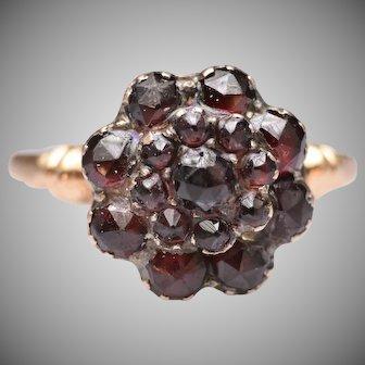 Antique Victorian Bohemian Garnet Floral Cluster Ring in 14k Gold