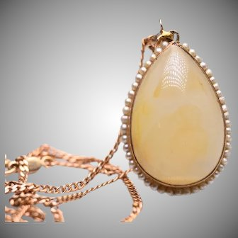 Vintage Yellow Agate Seed Pearl Pendant and 10k Chain