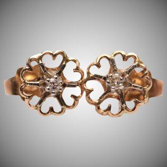 Vintage 14k Diamond Flower Stud Earrings with Heart Shaped Petals