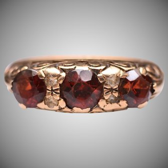 Vintage 1960s Garnet and Spinel Ring in 9k Yellow Gold