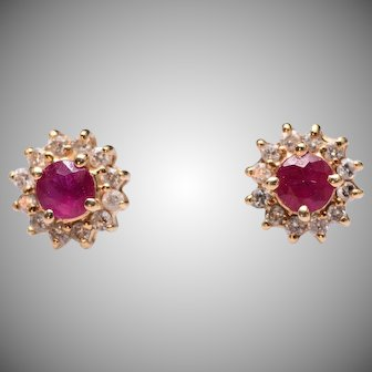 Ruby and Diamond Halo Stud Earrings in 14k Yellow Gold