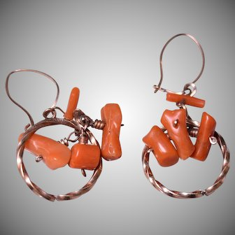 Vintage Coral Chandelier Dangle Earrings with 10k Ear Wires
