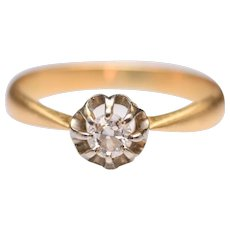 Vintage 18k French Yellow Gold Diamond Solitaire Ring