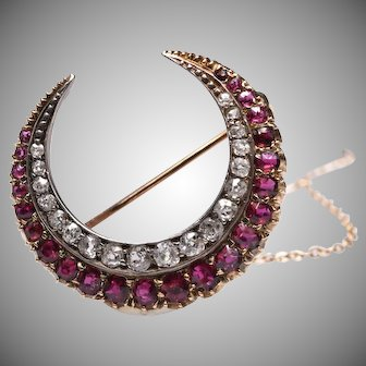 Antique Victorian Ruby and Diamond Crescent Brooch