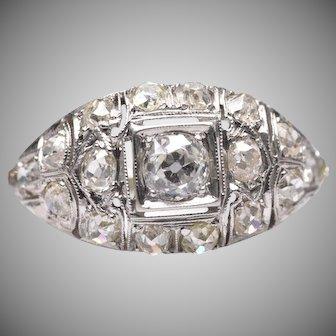 Vintage Art Deco 18k White Gold OEC Diamond Bombe Ring