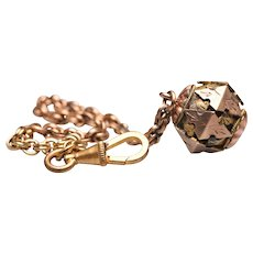 Antique Gold Filled Etruscan Revival 3D Watch Fob on Chain