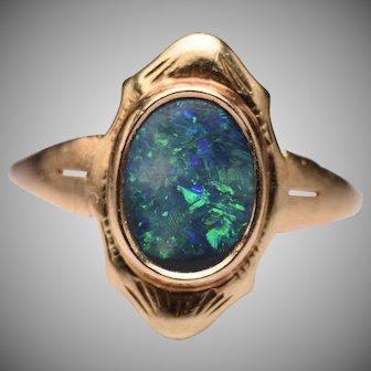 Vintage 14k Black Opal Navette Ring