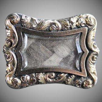 Antique Victorian Mourning / Sentimental Hair Brooch