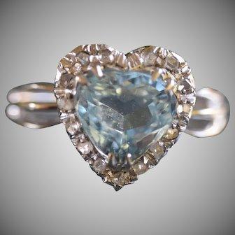 Vintage 18k White Gold Heart Shaped Aquamarine and Diamond Ring