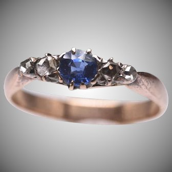 Antique 14k Gold Sapphire and Old Cut Diamond Ring