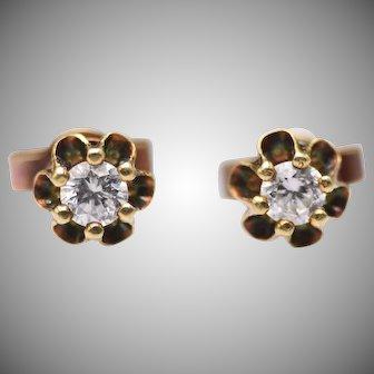 Vintage 14k Yellow Gold Buttercup Style Diamond Stud Earrings